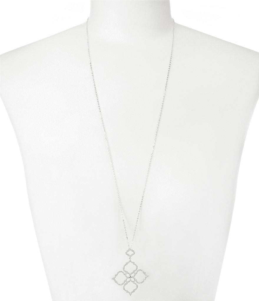 Nadri Mandala Cubic Zirconia and Crystal Long Pendant Necklace