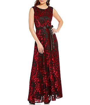 Tahari ASL Crew Neck Cap Sleeve Flocked Velvet Gown