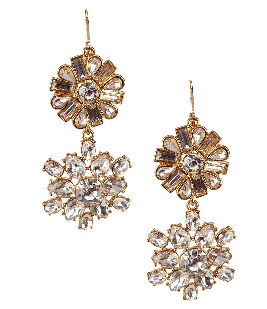 Gemma Layne Crystal Flower Drop Statement Earrings