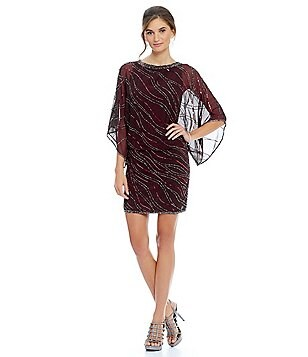 JKara Beaded Wave Blouson Dress