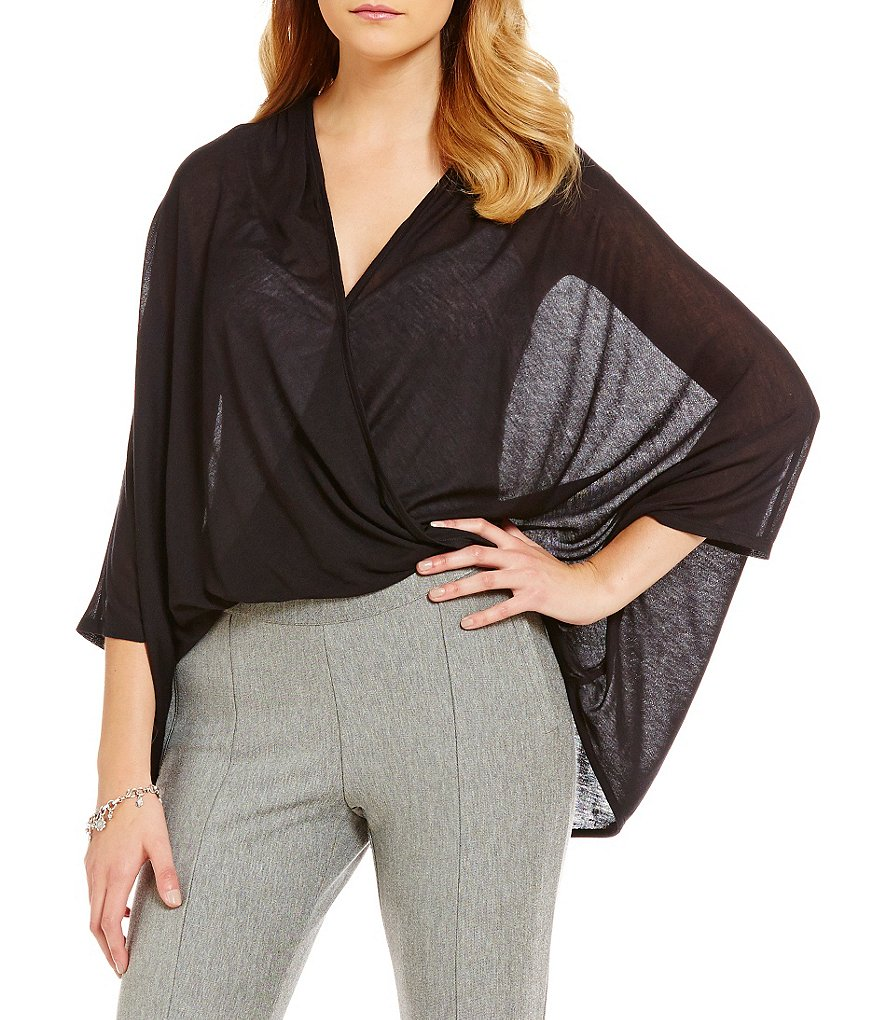 Anna & Ava Twist-Front Jersey Poncho