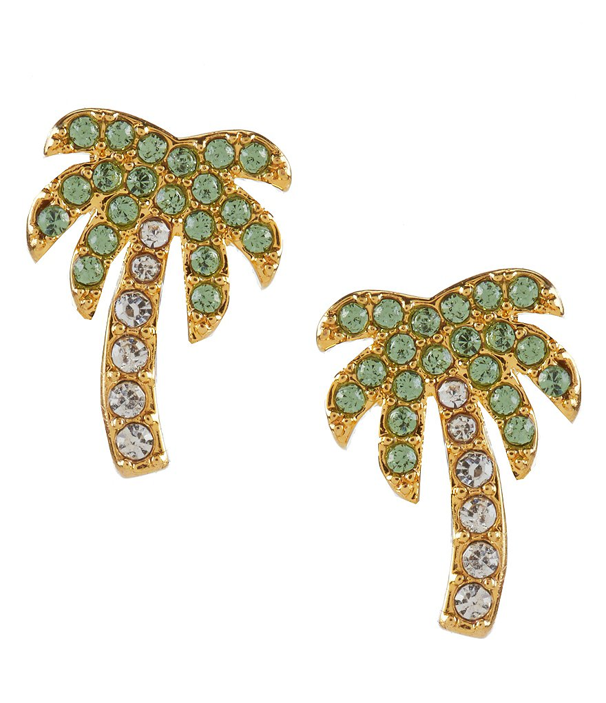kate spade new york Palm Tree Pavé Stud Earrings