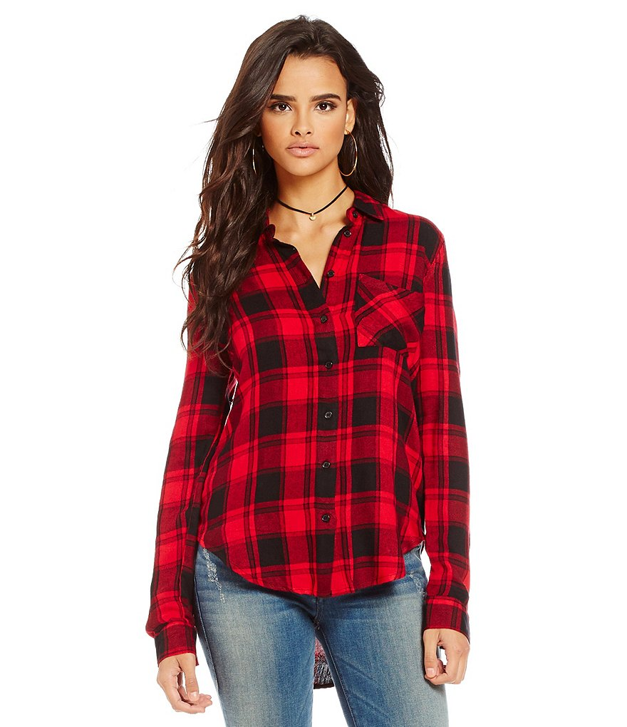 RD Style Long Sleeve Lose Fit Plaid Shirt