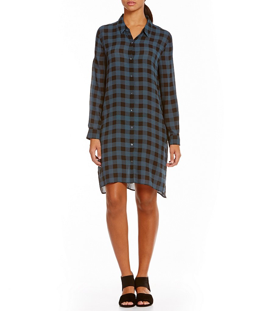 Eileen Fisher Classic Collar Long Sleeve Shirt Dress
