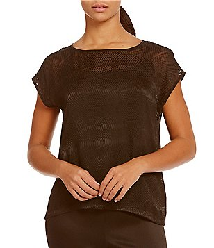 Eileen Fisher Ballet Neck Cap Sleeve Solid Top