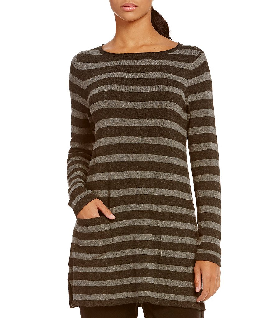 Eileen Fisher Bateau Neck Striped Tunic