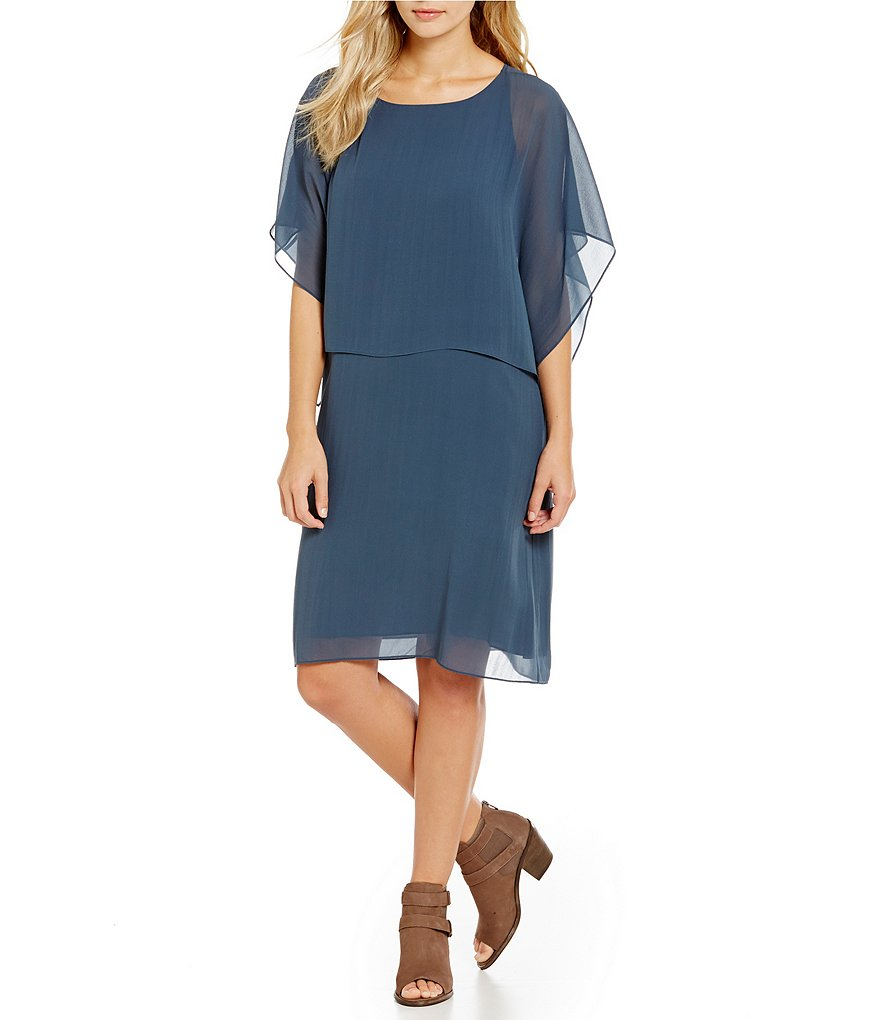 Eileen Fisher Popover Ballet Neck Flutter Sleeve Silk Dress