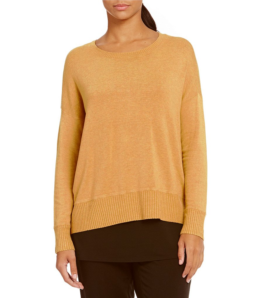 Eileen Fisher Bateau Neck Long Sleeve Top