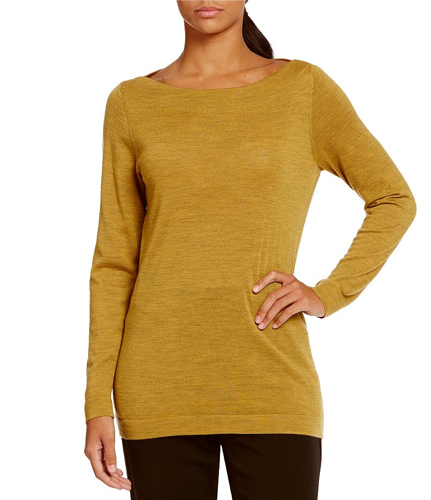 Eileen Fisher Long Sleeve Bateau Neck Solid Long Top
