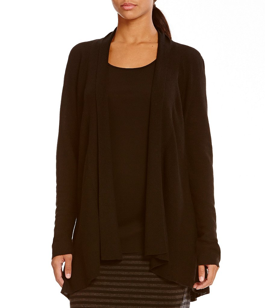 Eileen Fisher Shaped Open Front Hi-Lo Cardigan