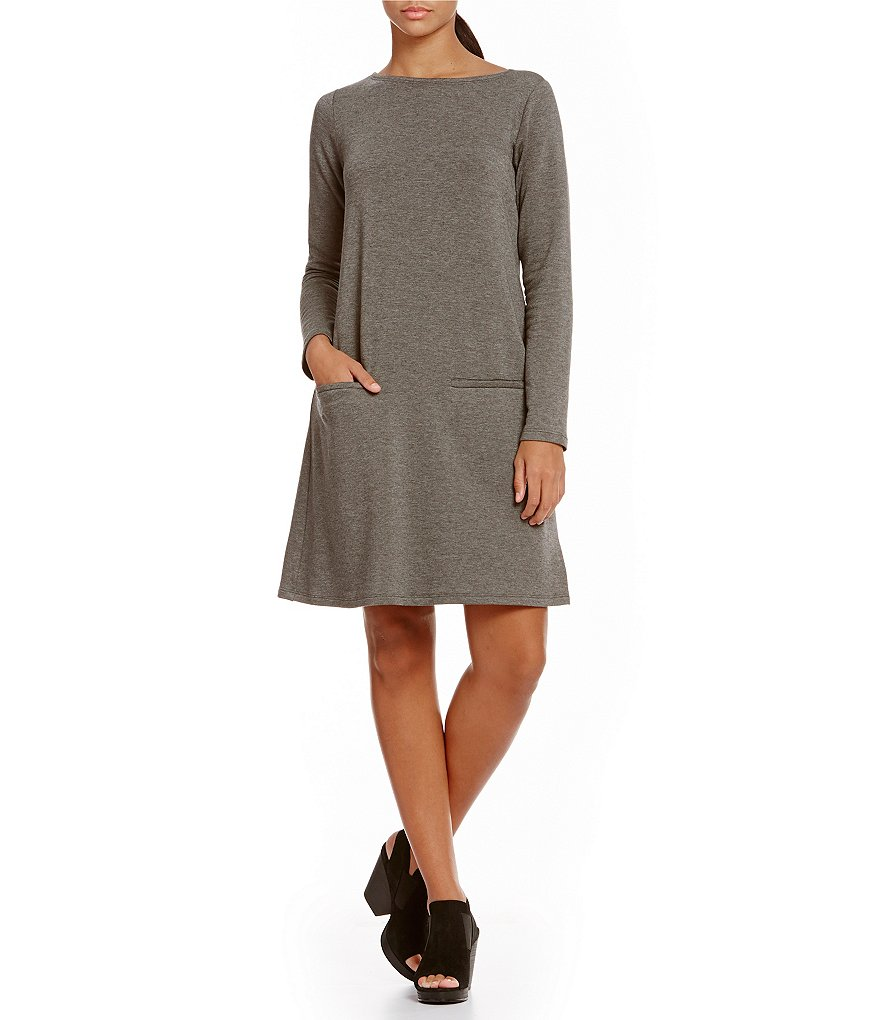Eileen Fisher Bateau Neck Long Sleeve Solid Dress