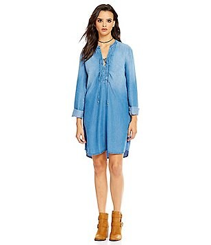 Splendid Lace-Up Chambray Shirt Dress