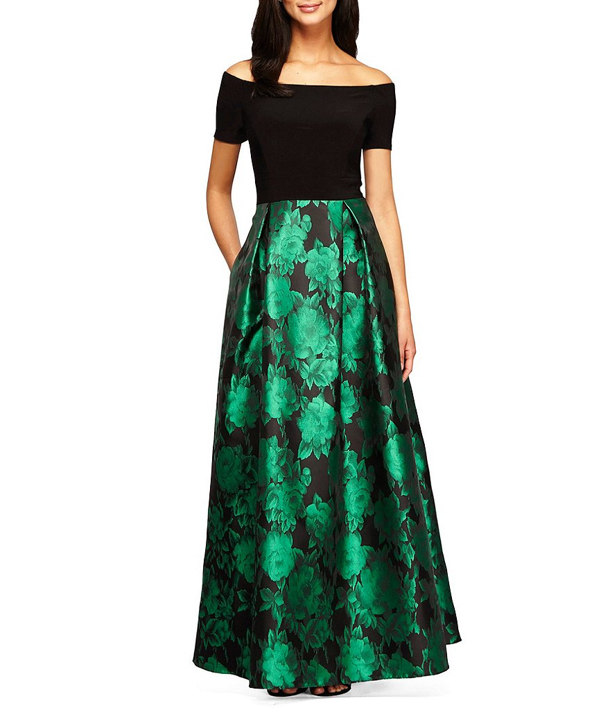 Alex Evenings Petite Off-The-Shoulder Printed Ballgown