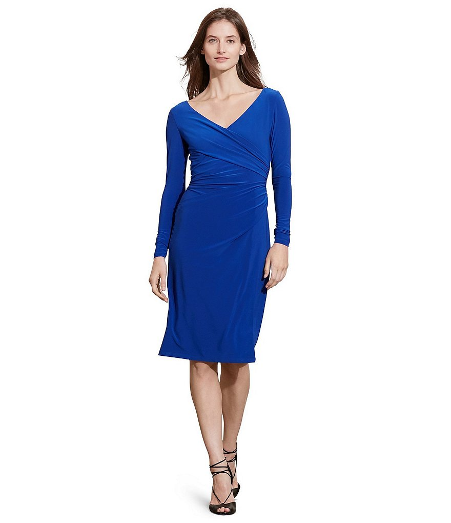 Lauren Ralph Lauren Ruched Long Sleeve Surplice V-Neck Jersey Dress