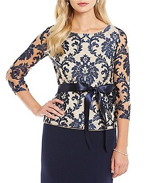 Adrianna Papell Boat Neck Illusion Scroll Lace Top