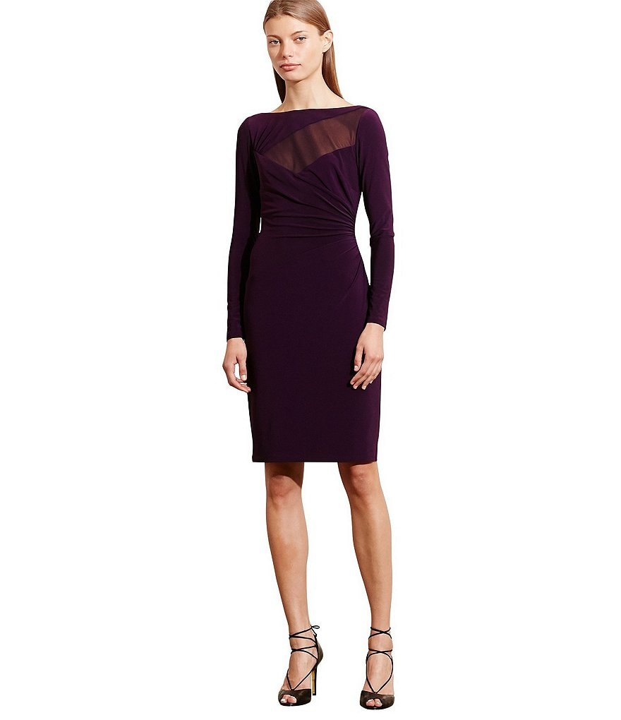 Lauren Ralph Lauren Mesh Yoke Slim Fit Jersey Dress