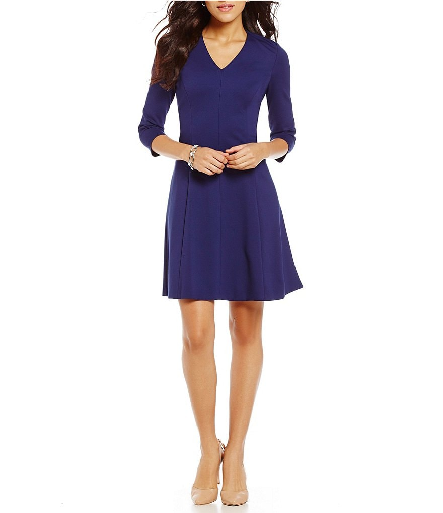 Anne Klein V-Neck Ponte Fit-and-Flare Dress
