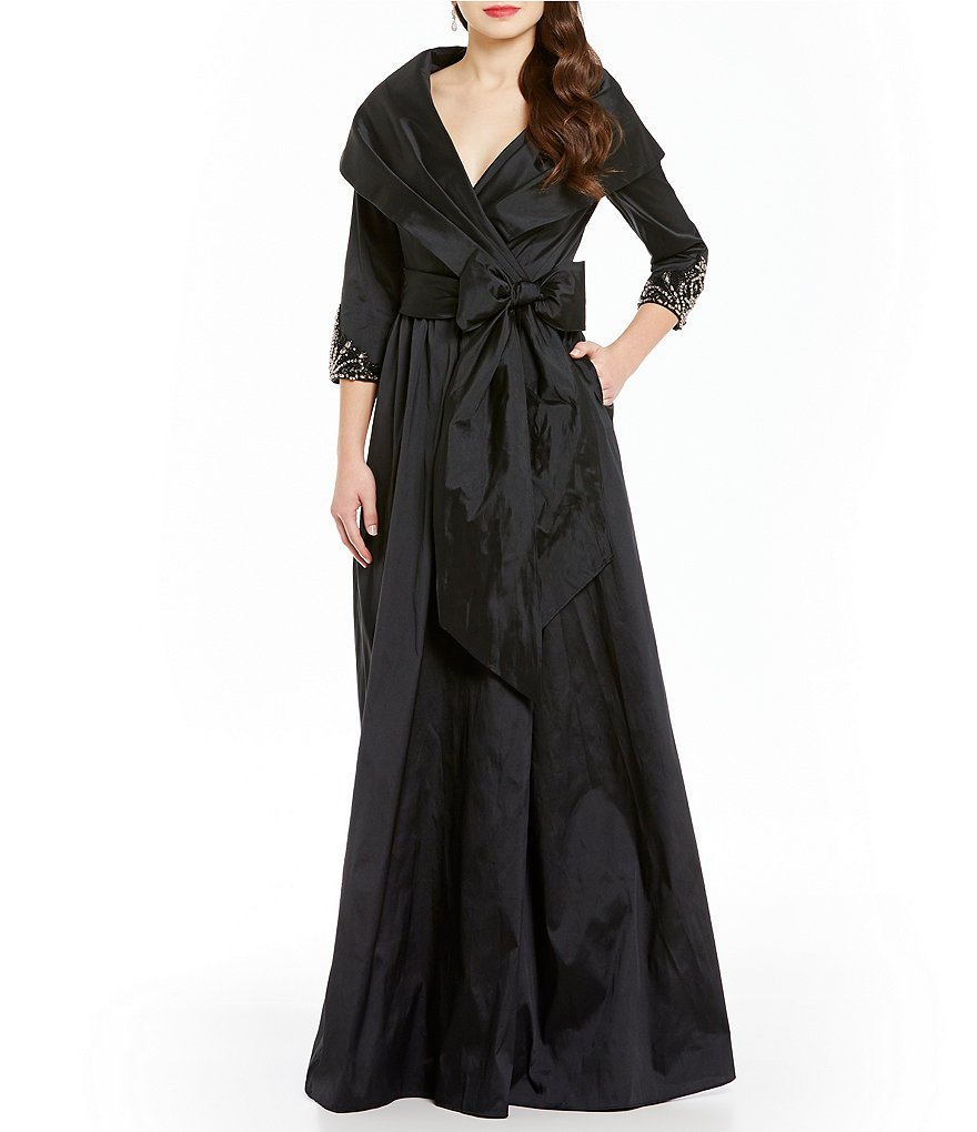 Adrianna Papell 3/4 Sleeve Portrait Collar Wrap Front Bow Sash Gown