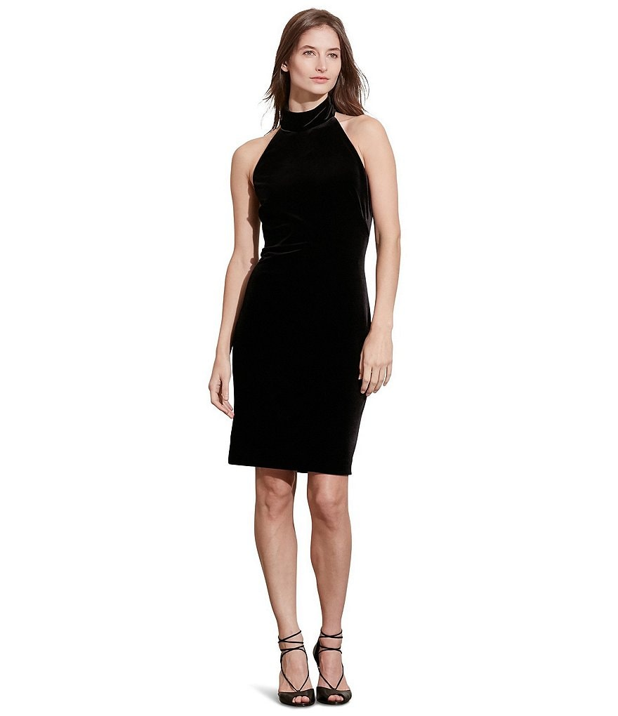 Lauren Ralph Lauren Velvet Mock Neck Halter Dress