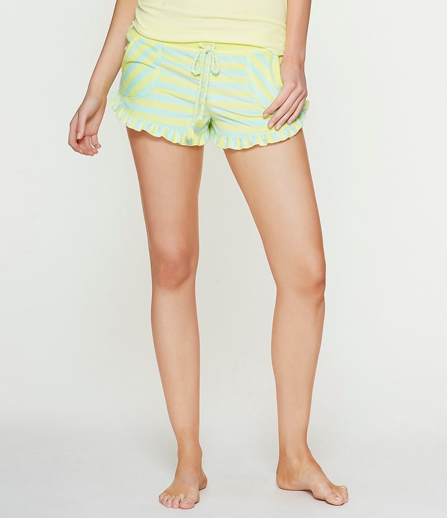 Betsey Johnson Printed Ruffled Vintage Terry Sleep Shorts