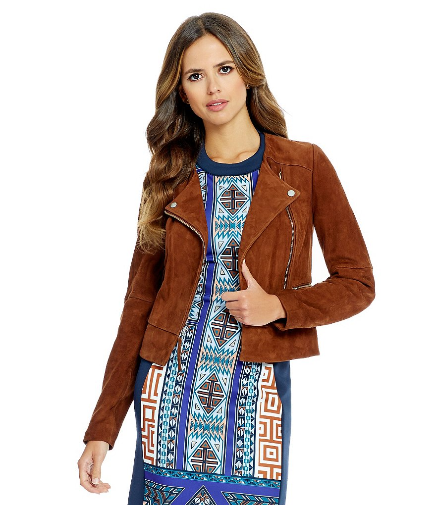 Gianni Bini James Suede Front Zip Moto Jacket