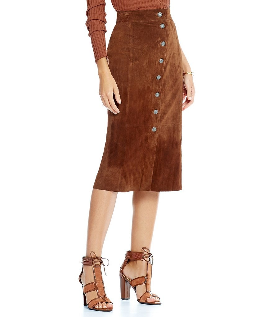 Gianni Bini Sandra Button Front Genuine Leather Suede Midi Skirt