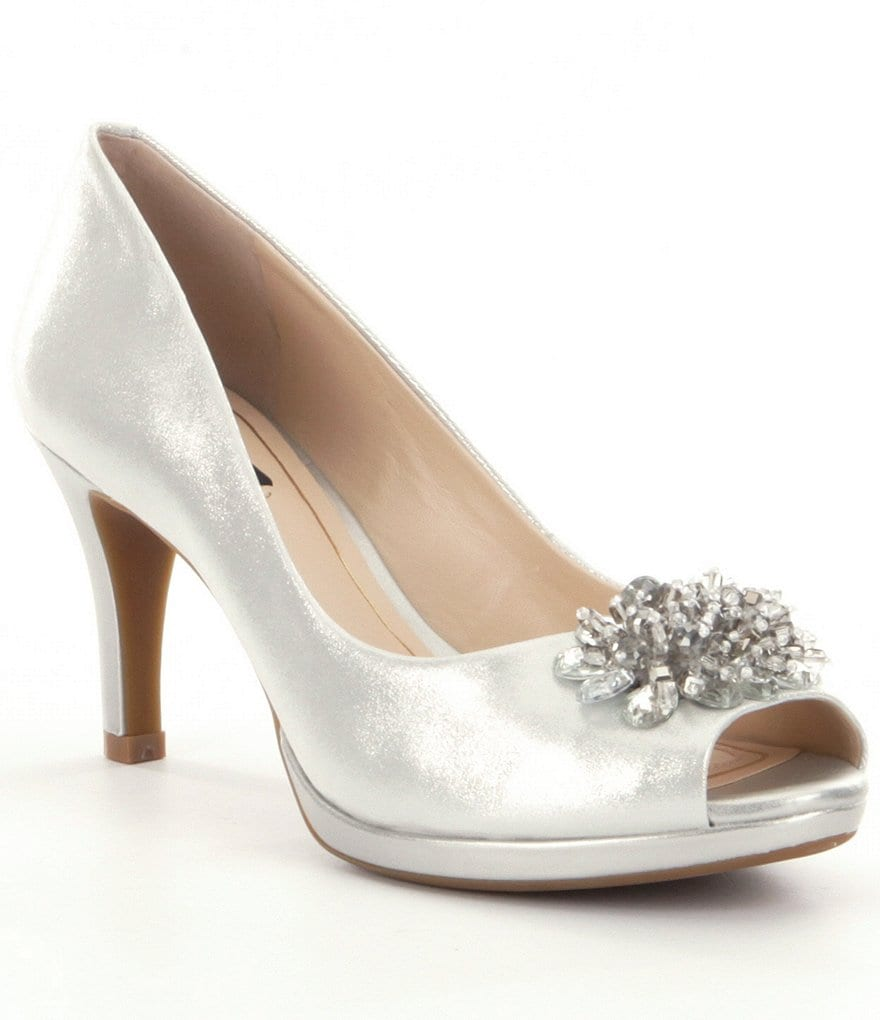 Alex Marie Jazmin Metallic Leather Bead Detail Peep Toe Pumps
