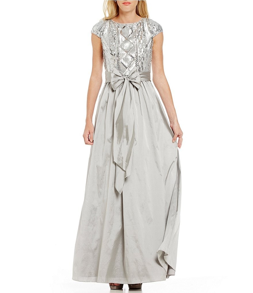 Adrianna Papell Boat Neck Sequin Top Ball Gown