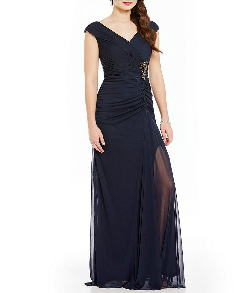 Adrianna Papell Shirred Mesh V-Neck Beaded Gown