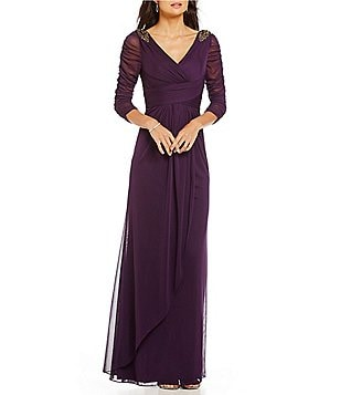 Adrianna Papell Beaded Faux Wrap Gown