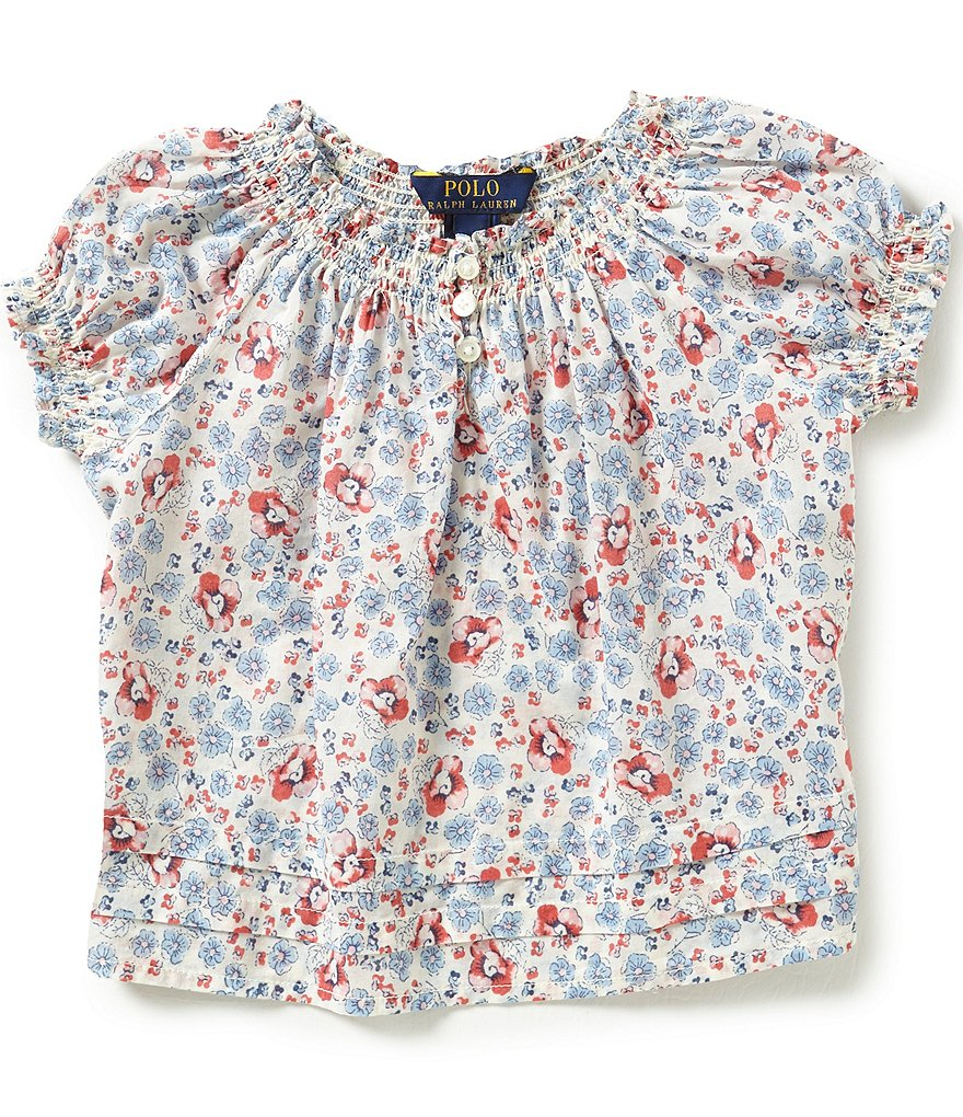 Ralph Lauren Childrenswear Little Girls 2T-6X Floral-Printed Bohemian-Inspired Peasant Top