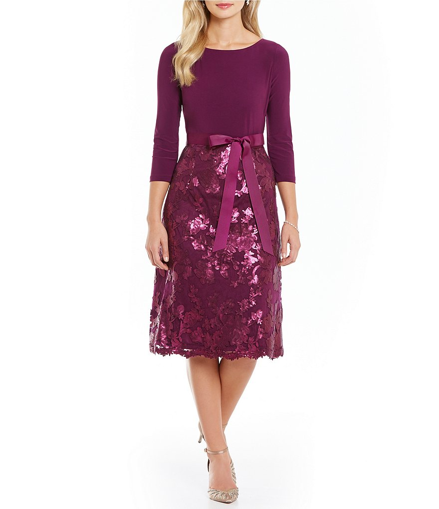 Adrianna Papell Jersey Top Sequin Fit-And-Flare Dress