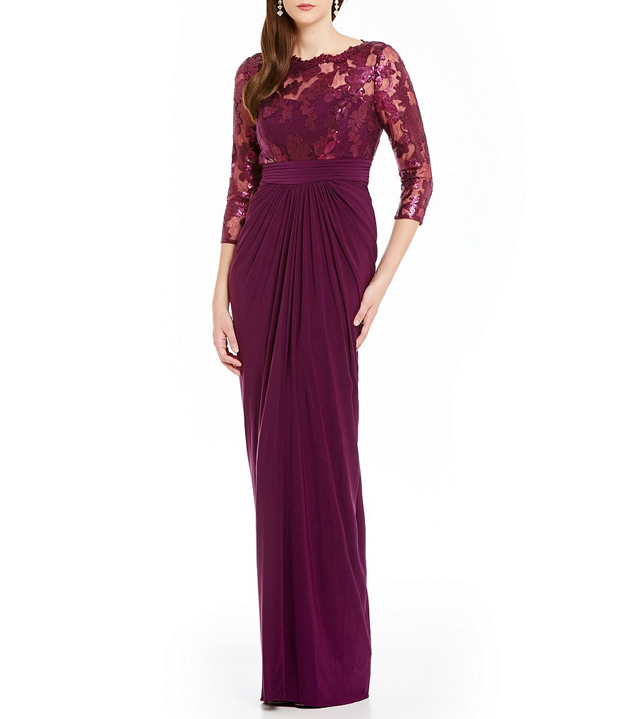 Adrianna Papell Lace Illusion Bodice Shirred Drape Gown