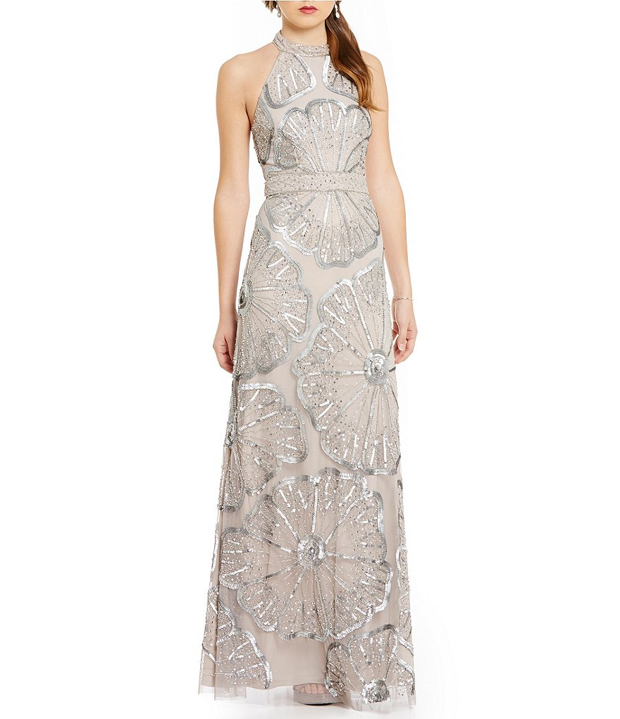 Adrianna Papell Beaded Halter Mermaid Gown