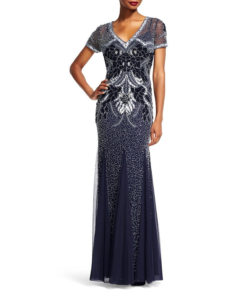 Adrianna Papell Mesh Beaded V-Neck A-Line Gown
