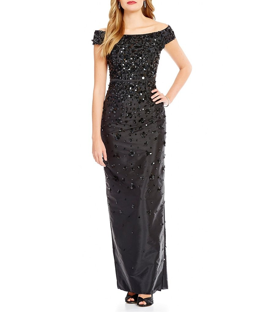 Adrianna Papell Off the Shoulder Beaded Gown