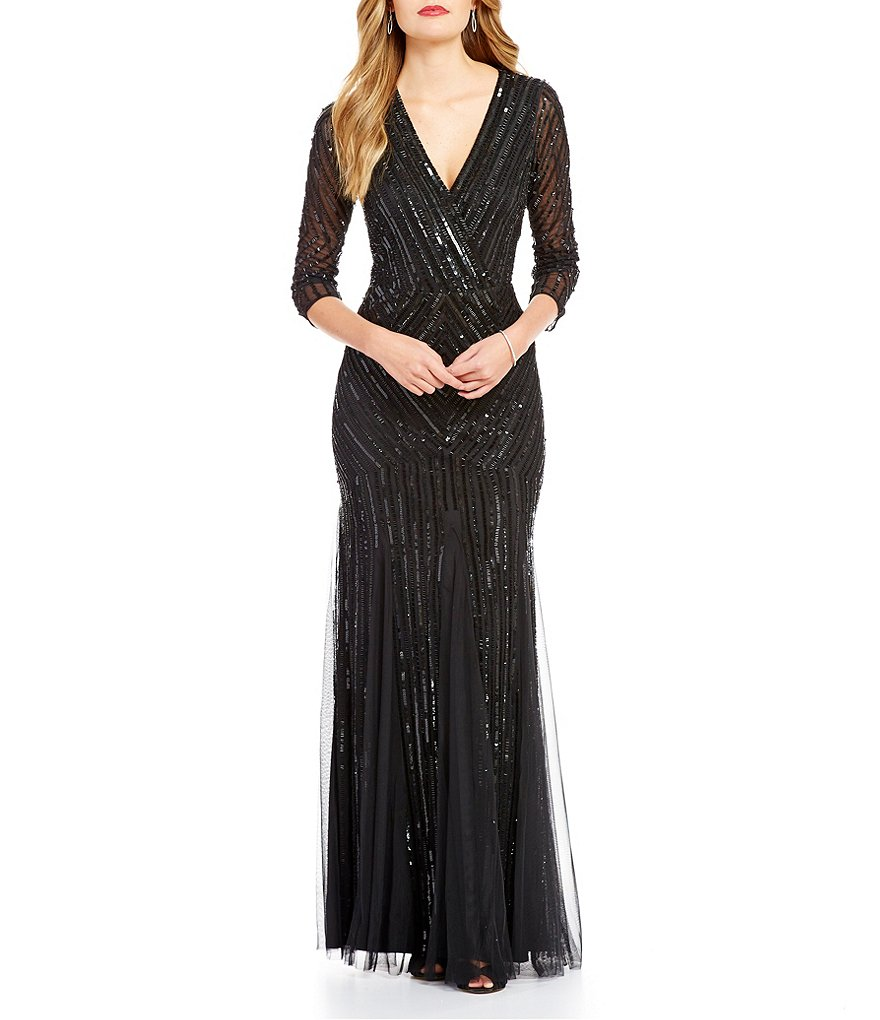 Adrianna Papell All Over Beaded Faux Wrap Gown