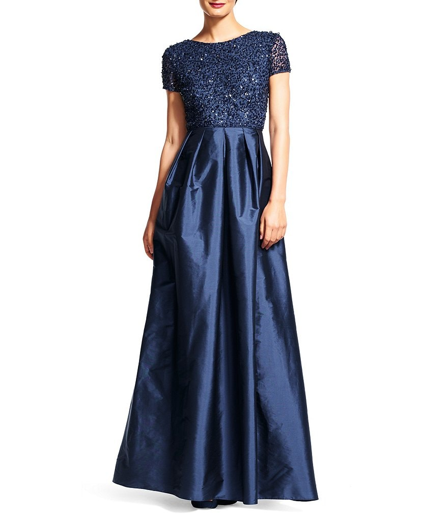 Adrianna Papell Beaded Bodice Cap Sleeve Gown