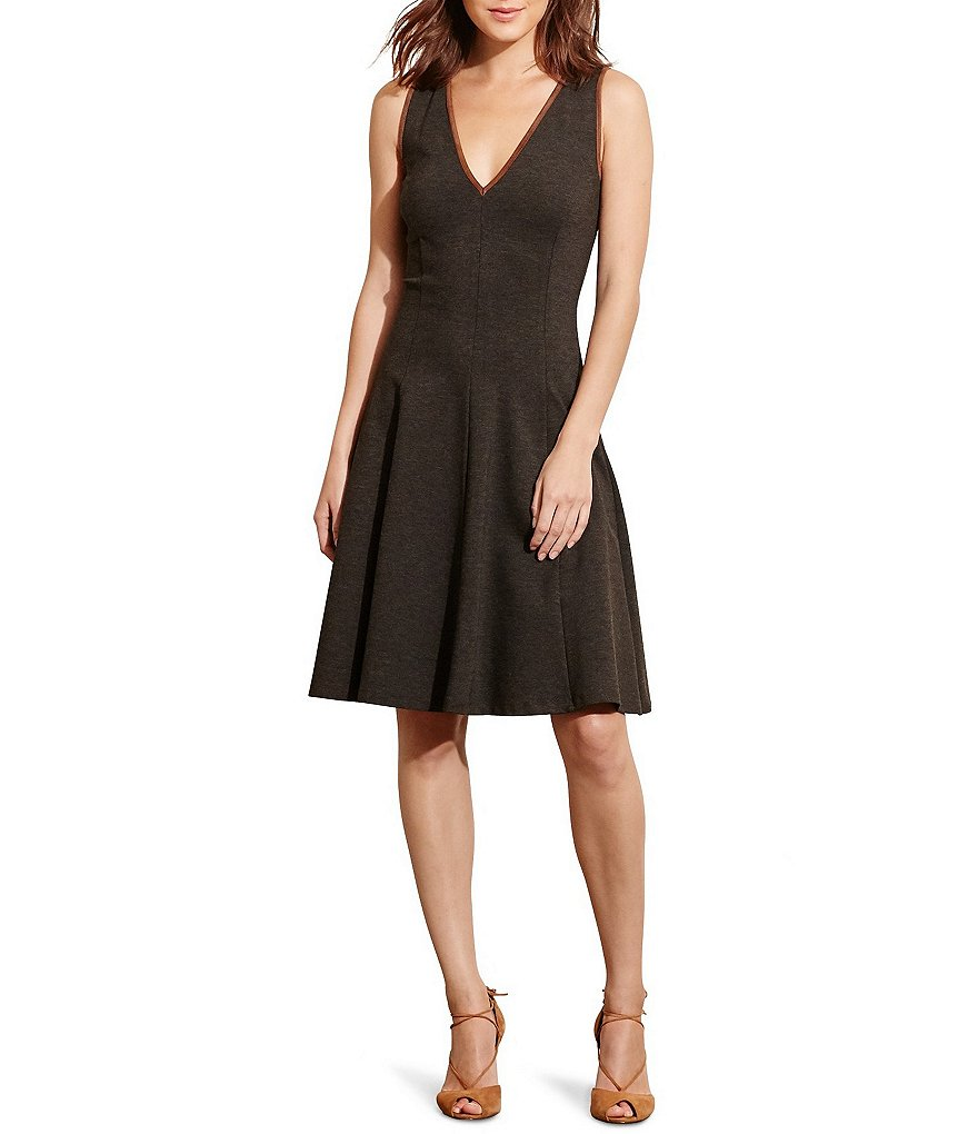 Lauren Ralph Lauren V-Neck Fit-and-Flare Ponte Dress