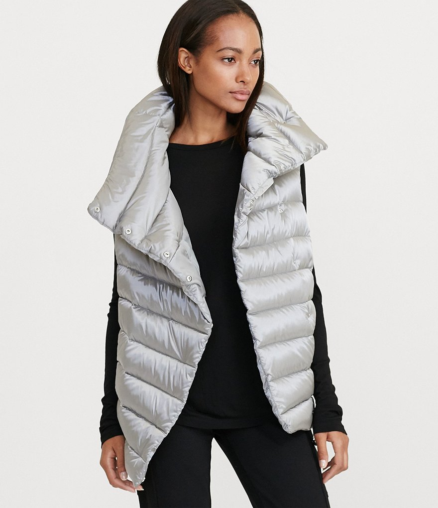 Lauren Ralph Lauren Metallic Nylon Funnel Neck Down-Filled Vest