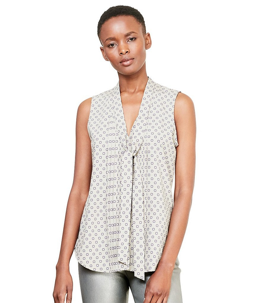 Lauren Ralph Lauren V-Neck Sleeveless Foulard-Print Georgette Top