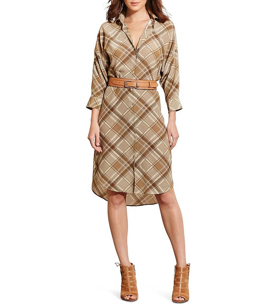 Lauren Ralph Lauren Point Collar Plaid Crepe Shirtdress