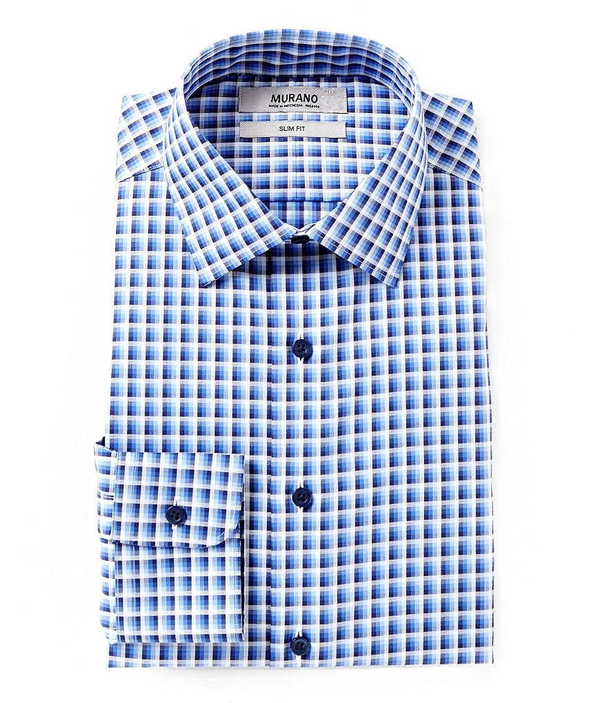 Murano Slim-Fit Spread Collar Checked Dress Shirt