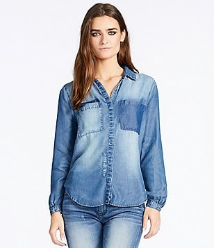 William Rast Joplin Patch Wash Chambray Button-Up Top