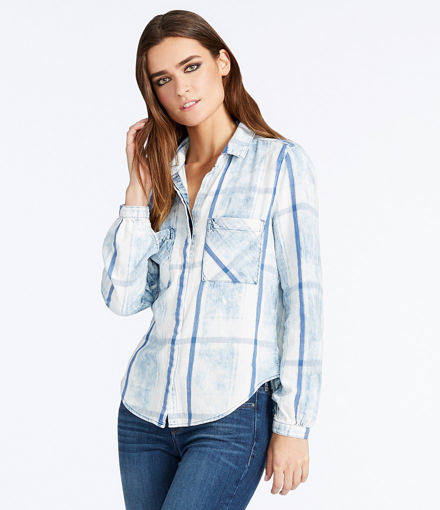 William Rast Joplin Button-Front Plaid Denim Shirt