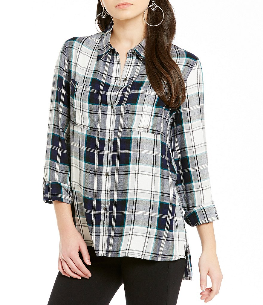 Jessica Simpson Dion Roll Sleeve Plaid Top