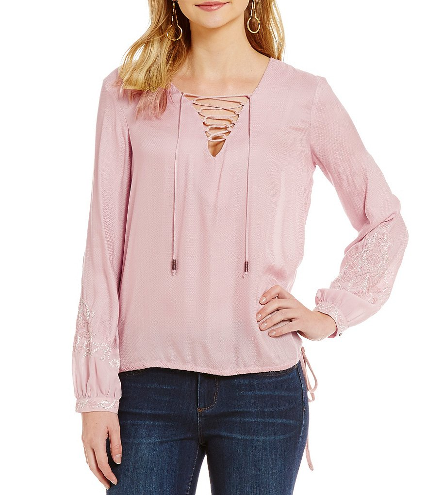Jessica Simpson Lise Lace-up Blouse