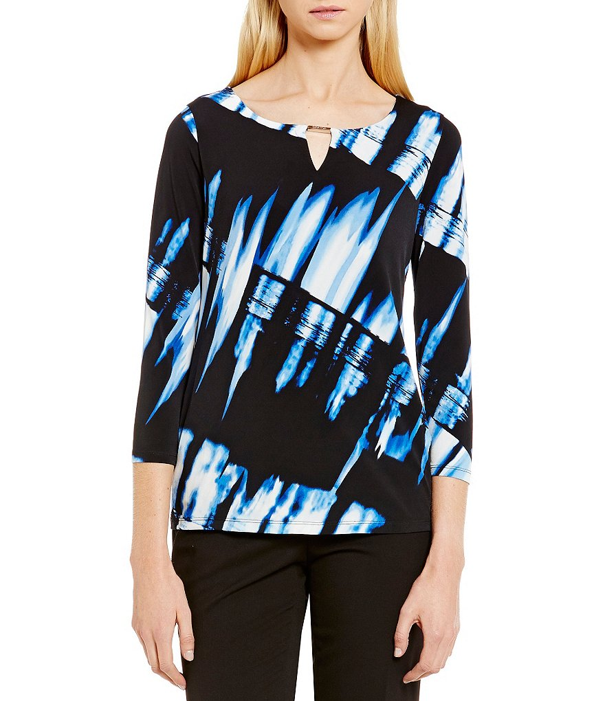 Calvin Klein Abstract Printed Matte Jersey Keyhole Neck Top