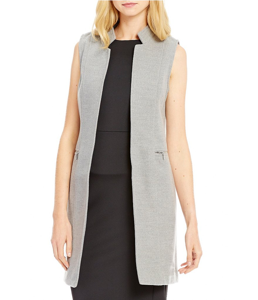 Calvin Klein Double Face Woven Zip Pocket Long Vest