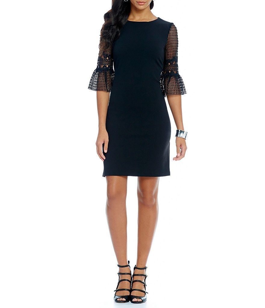 Donna Ricco Lace Bell Sleeve Dress